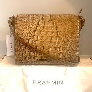 Brahmin Carrie Tan Gold Melbourne Croc Crossbody